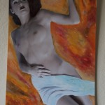 Nude on fire. Hand painted digital print. $147